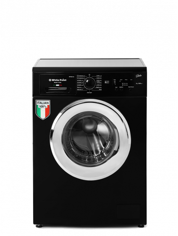 White Point Front Load Full Automatic Washing Machine 7 KG Guilia 100% Italian in Black Color & Chrome Door WPW7101GDBC