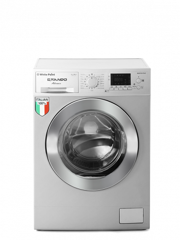 White Point Front Load Full Automatic Washing Machine 7 KG GRANDO 100% Italian in Silver Color & Chrome Door WPW7121DSC
